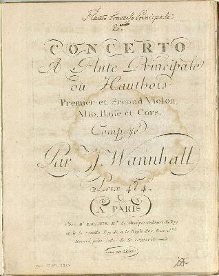 Concerto (II) à flûte principale ou hautbois, premier et second violon, alto, basse et cors