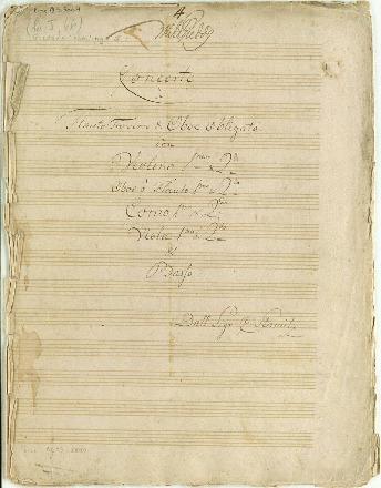 Concerto à Flauto Traverso & Oboe obligato cõn Violino Imo & 2do/Oboe ô Flauto imo & 2do/Corno 1mo & 2do/Viola imo & 2do & Basso/Dall Sigr: C: Stamitz [G]