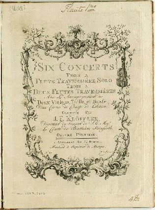 Six concerts trois a flute traversiéres solo trois a deux flutes traversiéres avec l'accompagnement des deux violons, taille, et basse, deux cornes de chasse ad libitum