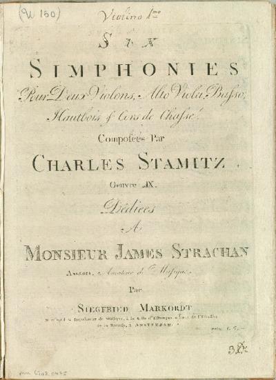 Six simphonies pour deux violons, alto viola, basso, hautbois & cors de chasse