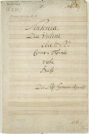 Sinfonia a due Violini/Oboe imo & 2do/Corno & Trombe/Viola & Basso/Del Sigr: Giovanni Pajesiello. [D]