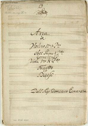 "Image from object titled Aria à Violino 1mo & 2do/Oboe Primo & 2do/Corno 1mo & 2do/Viola 1mo & 2do/Fagotto & Basso. [""Dei di Roma ah perdonate...""]"