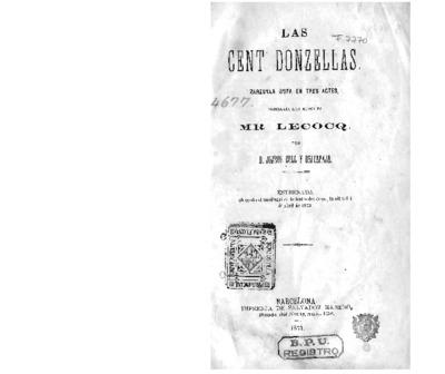 Las Cent donzellas : zarzuela bufa en tres actes