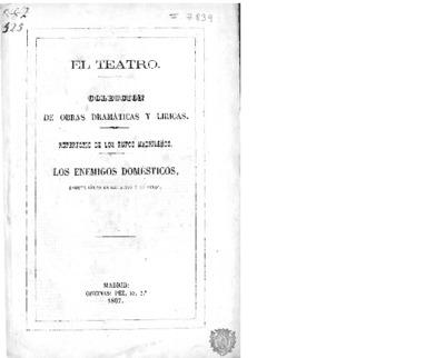 Los Enemigos domésticos : sainete lírico en dos actos y en verso arreglado del francés