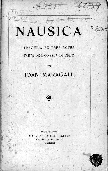 Nausica : tragèdia en tres actes treta de l'Odissea d'Homer