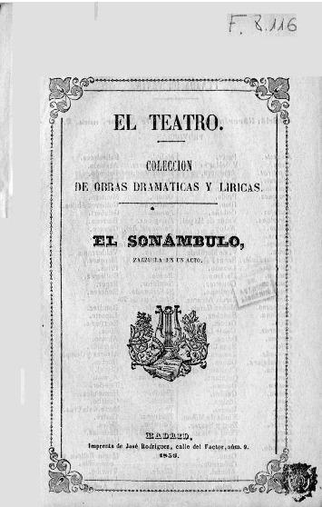 El Sonambulo : zarzuela en un acto Arrieta