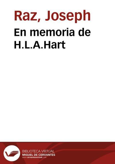 En memoria de H.L.A.Hart