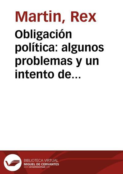 Obligación política: algunos problemas y un intento de solución