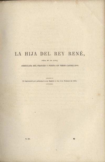 La hija del rey René : pieza en un acto, arreglada del francés y puesta en verso castellano