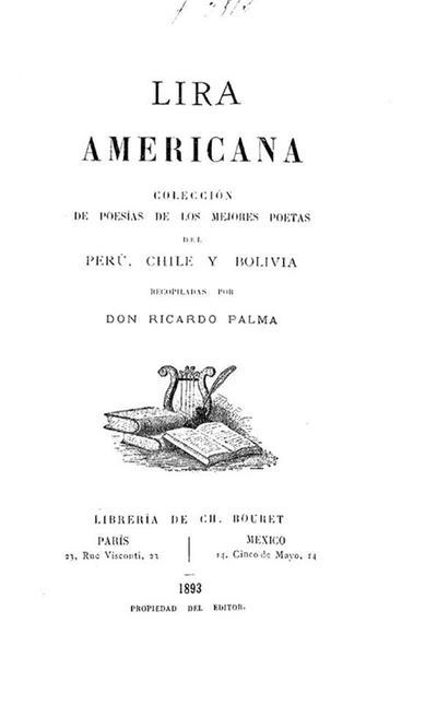 Lira americana : colección de poesías de los mejores poetas del Perú, Chile y Bolivia