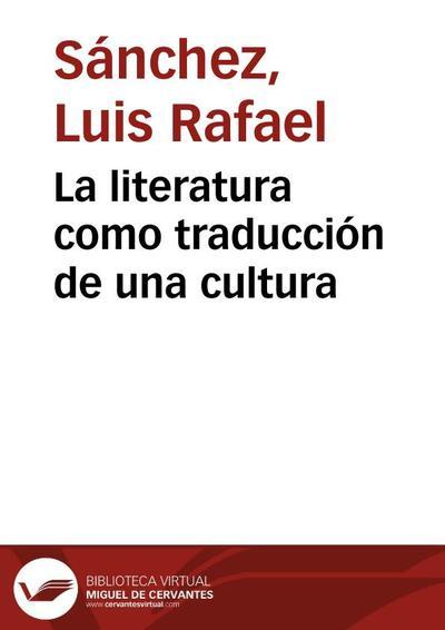 La literatura como traducción de una cultura