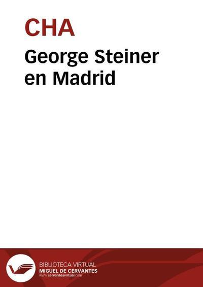 George Steiner en Madrid