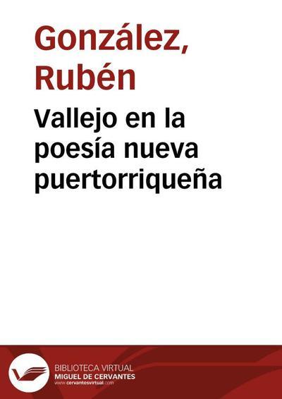 Vallejo en la poesía nueva puertorriqueña