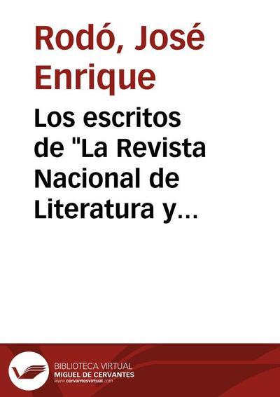 """Los escritos de """"La Revista Nacional de Literatura y Ciencias Sociales"""" : Poesías dispersas"""