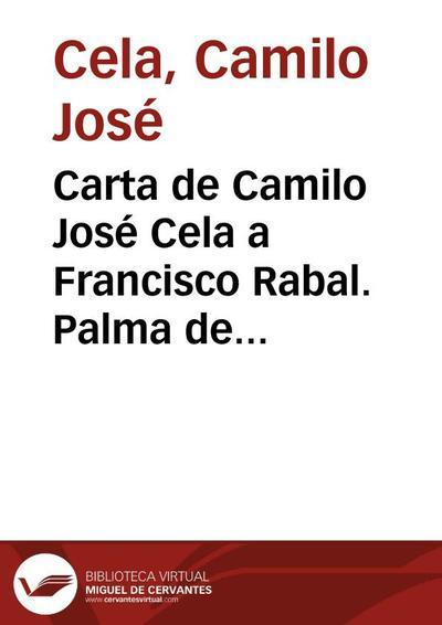 Carta de Camilo José Cela a Francisco Rabal. Palma de Mallorca, 24 de enero de 1959