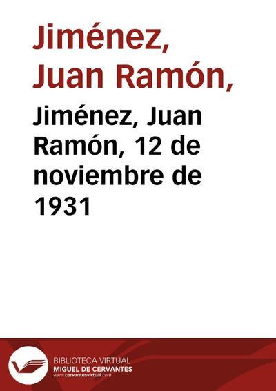 Jiménez, Juan Ramón, 12 de noviembre de 1931