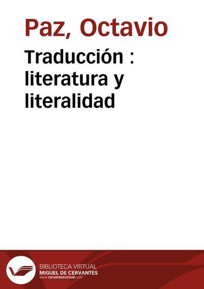 Traducción : literatura y literalidad