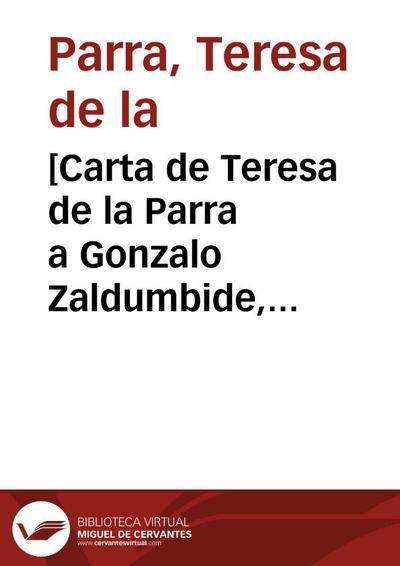 [Carta de Teresa de la Parra a Gonzalo Zaldumbide, Caracas, 21 de noviembre de 1924]