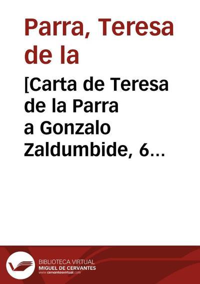 [Carta de Teresa de la Parra a Gonzalo Zaldumbide, 6 de diciembre]