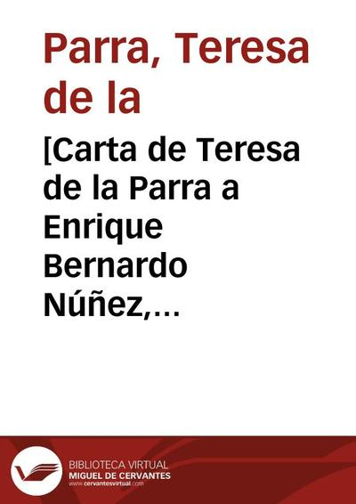 [Carta de Teresa de la Parra a Enrique Bernardo Núñez, París, 25 de noviembre]