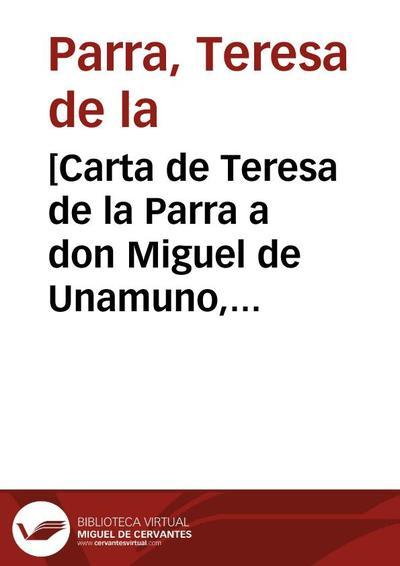 [Carta de Teresa de la Parra a don Miguel de Unamuno, julio de 1925]