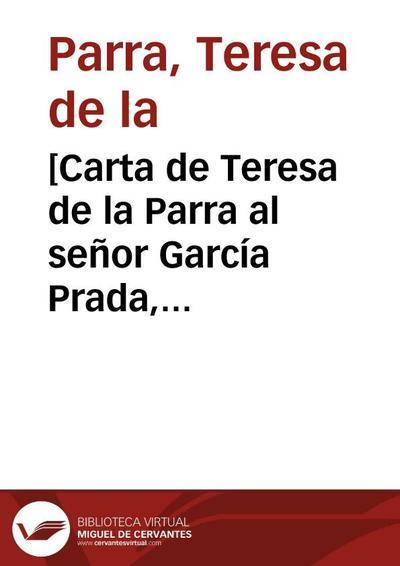 [Carta de Teresa de la Parra al señor García Prada, París, 5 de mayo de 1931]