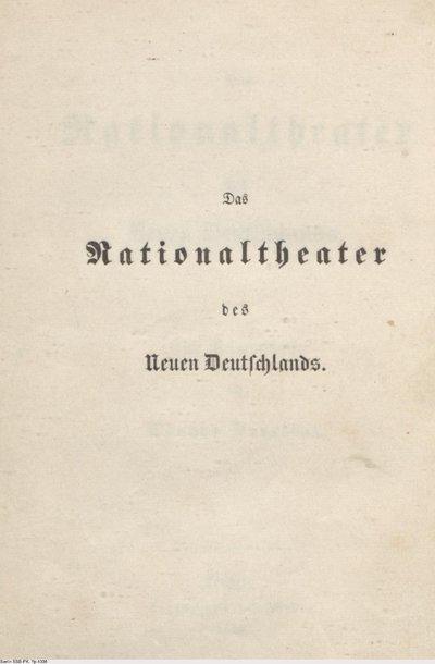 Das Nationaltheater des neuen Deutschland; Eine Reformschrift