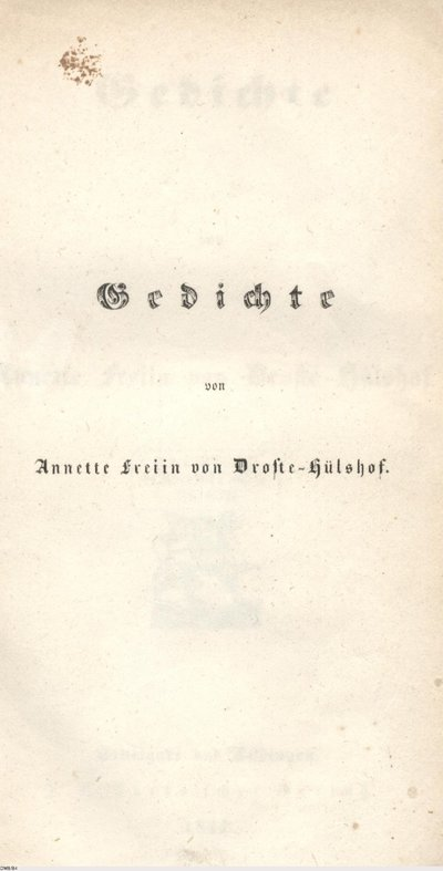 1844 Gedichte Annette Von Droste Hülshoff Europeana