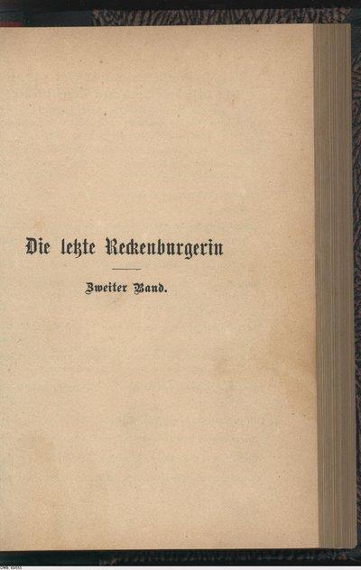 Die letzte Reckenburgerin; Roman; Zweiter Band