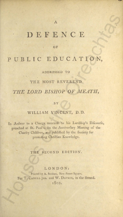 A defence of public education : addressed to the Most Reverend the Lord Bishop of Meath Pamphlets