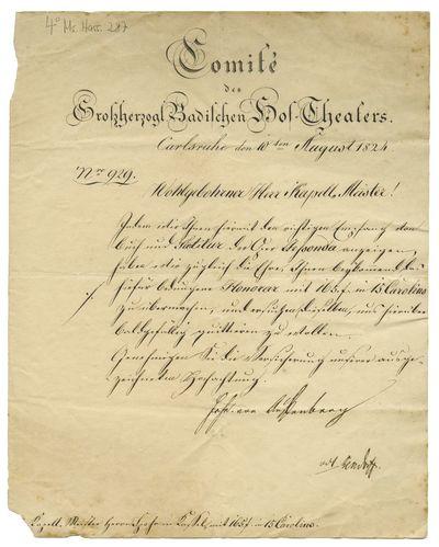 Brief von Joseph von Auffenberg von Grossherzogliches Hoftheater, Karlsruhe an Louis Spohr