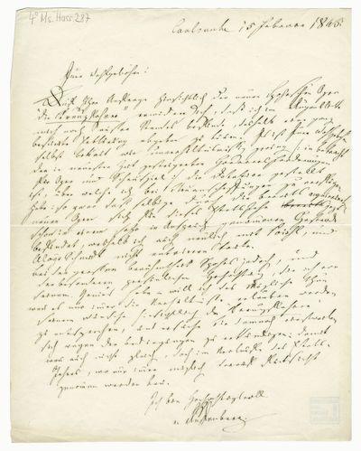 Brief von Joseph von Auffenberg an Louis Spohr