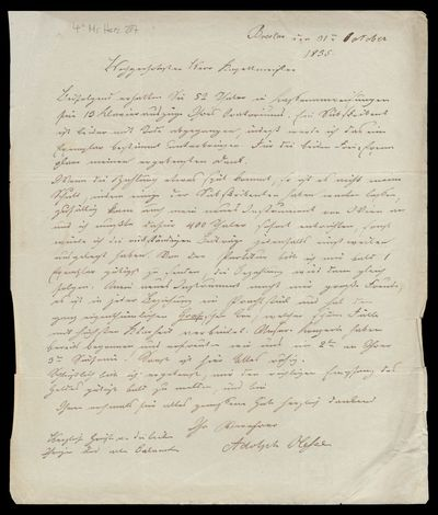 Brief von Adolf Friedrich Hesse an Louis Spohr