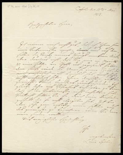 Brief von Louis Spohr an Bernhard Keil