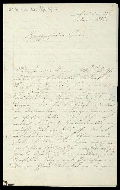 Brief von Louis Spohr an August Ferdinand Anacker