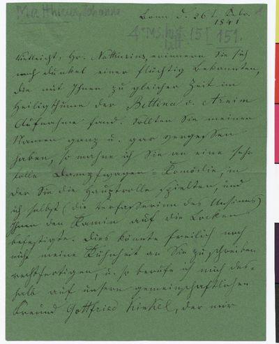 Brief von Johanna Mathieux an Philipp von Nathusius