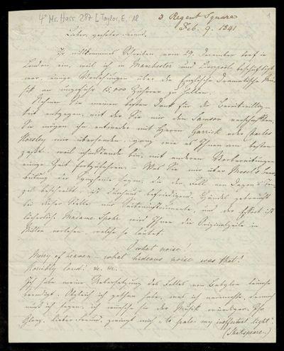 Brief von Edward Taylor an Louis Spohr