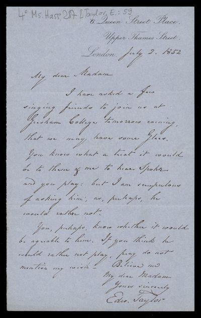 Brief von Edward Taylor an Marianne Pfeiffer