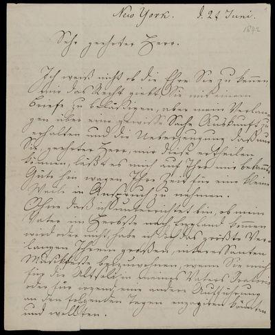 Brief von Emilie Zahn an Edward Taylor