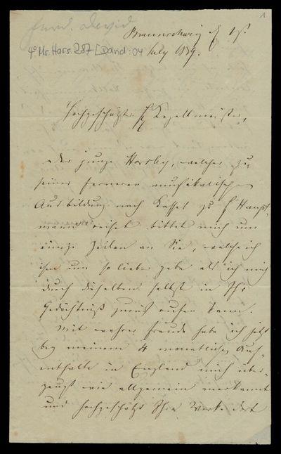Brief von Ferdinand David an Louis Spohr