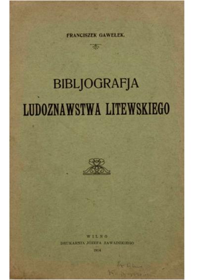 Image from object titled Bibljografja ludoznawstwa litewskiego