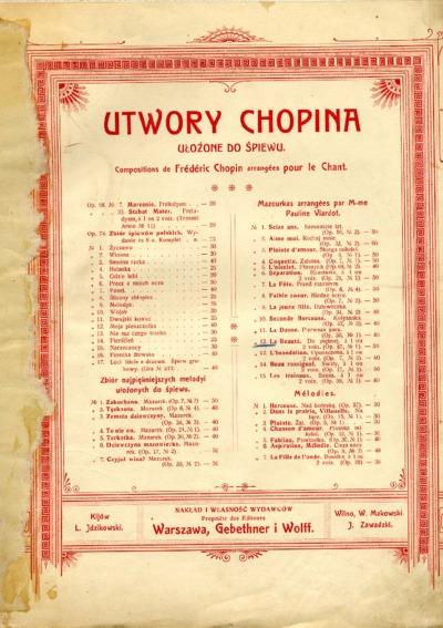 Do pięknej = No 12. La beauté : Mazourke de F. Chopin : Duo pour Soprano et Mezzo-Soprano. Op. 67 nr 1