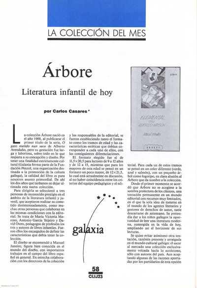 Árbore : literatura infantil de hoy