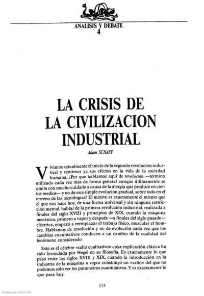 La crisis de la civilización industrial
