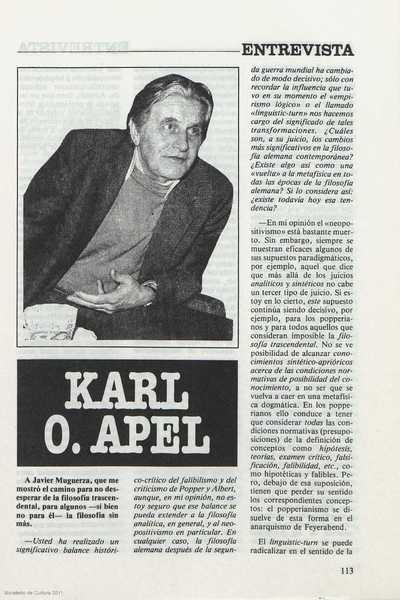 Entrevista : Karl O. Apel