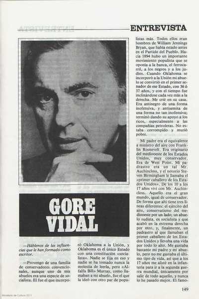 Entrevista : Gore Vidal