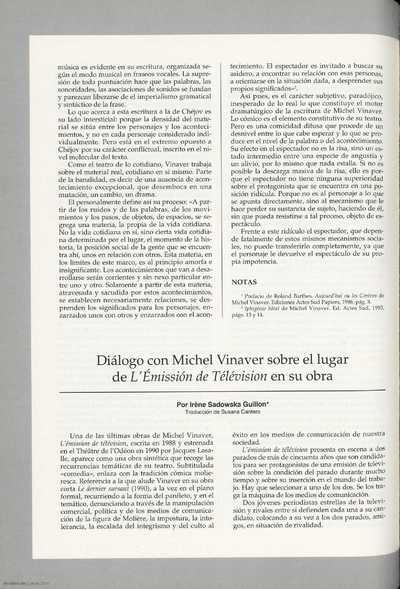"""Diálogo con Michel Vinaver sobre el lugar de """"L'Émissión de Télévision"""" en su obra"""