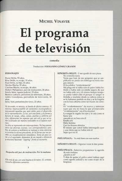 El programa de televisión : comedia