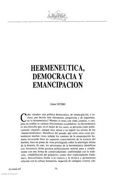 Hermenéutica, democracia y emancipación