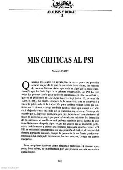 Mis críticas al PSI
